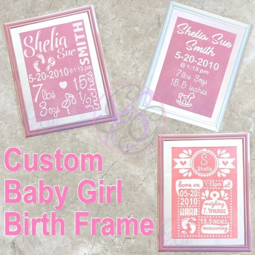 Baby Girl Birth Frame - Click Image to Close