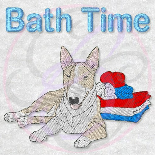Bath Time Bull Terrier - Click Image to Close